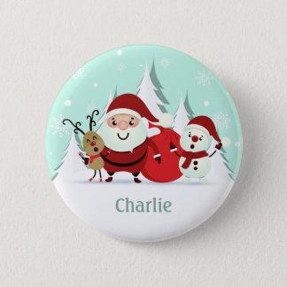 Sankt-, Ren- u. Snowman-Nameknopf Runder Button 5,7 Cm