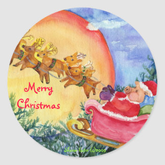 Sankt-Schwein liefert Freude - Weihnachtsaufkleber Runder Aufkleber