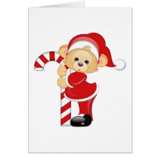 Sankt Teddybär und Candycane Karte