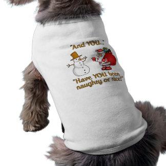 Sankt- u. Schneemannhaustierkleidung Haustierhemden