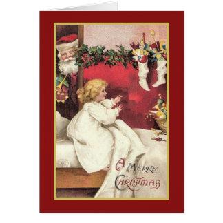 Sankt-Überraschungs-Vintage Weihnachtskarte Karte