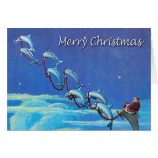 Sankt- und Delphin-Himmels-Weihnachtskarte Karte