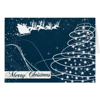 Sankt und Weihnachtsbaum-Feiertags-Gruß-Karte Karte
