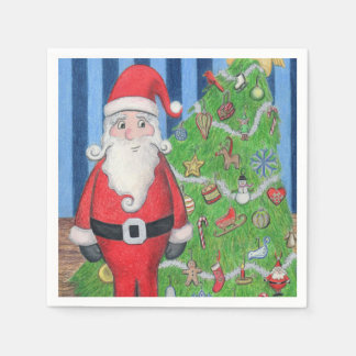 Sankt und Weihnachtsbaum Papierservietten