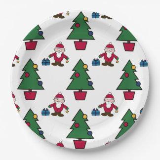 Sankt und Weihnachtsbaumpapier Pappteller