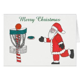 Sankt-Ursache, die Discgolf Weihnachtskarte spielt Karte