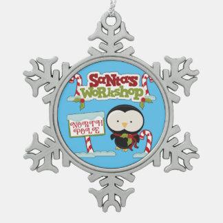Sankt Werkstatt-Pinguin Schneeflocken Zinn-Ornament