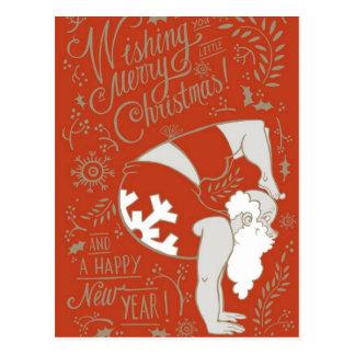 Sankt-Yoga-Weihnachtspostkarte Postkarte