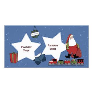 Sankt, Zug, Geschenk und Weihnachten winden Fotokartenvorlage