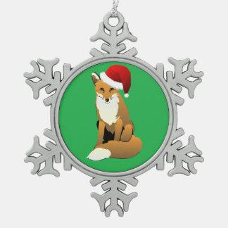 SanktFox auf Grün Schneeflocken Zinn-Ornament