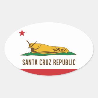 Santa- Cruzrepublik-Bananen-Schnecken-Flagge Ovaler Aufkleber