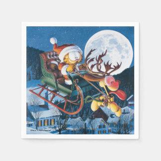 Santa Garfield and Rudolph Odie Papierserviette