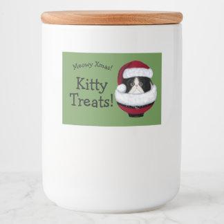 Santa Hat Kitten Cat Holiday Custom Labels Lebensmitteletikett