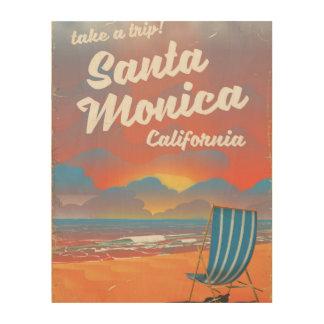 Santa Monica Kalifornien Vintages Strandplakat Holzwanddeko