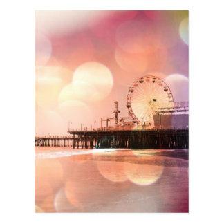 Santa Monica Pier - funkelndes rosa Foto Postkarte