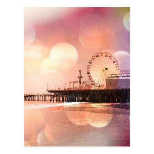 Santa Monica Pier - funkelndes rosa Foto redigiere Postkarten