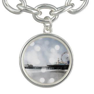 Santa Monica Pier-redigieren graues Glitzern-Foto Armbänder