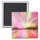 Santa Monica Pier-Rosa-Explosion Quadratischer Magnet