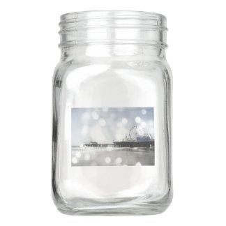 Santa Monica Pier-silbernes Grau-Glitzern Einmachglas