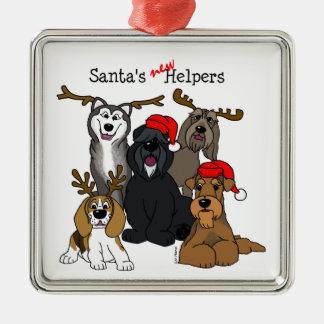 Santas new helpers silbernes ornament