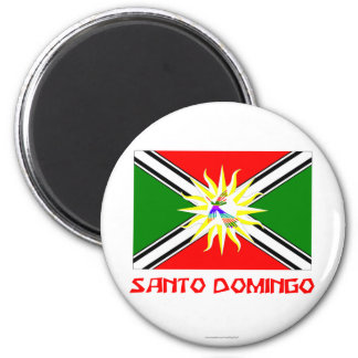 Santo- Domingoflagge mit Namen Runder Magnet 5,7 Cm