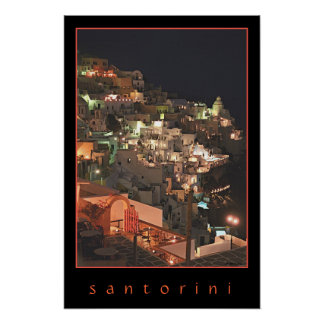 Santorini bis zum Nacht Poster