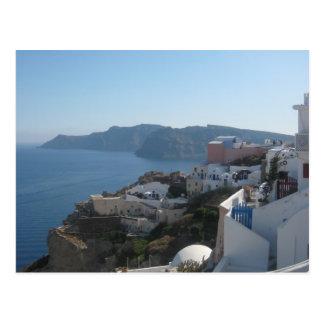 Santorini Dachspitzen Postkarte