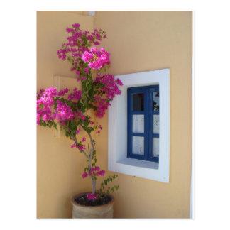 Santorini Fenster Postkarte