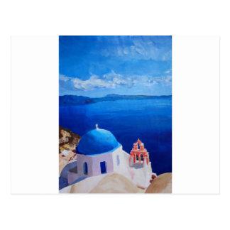 Santorini, Griechenland - Ansicht von Oia Postkarte