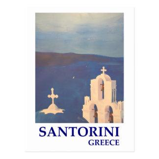 Santorini Griechenland Ansicht von Vintager Art Postkarte