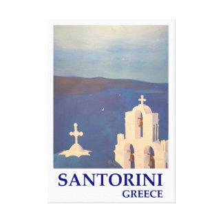 Santorini Griechenland mit chruch Retro Art Leinwanddruck