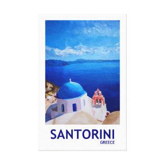 Santorini Griechenland Retro Art Leinwanddruck