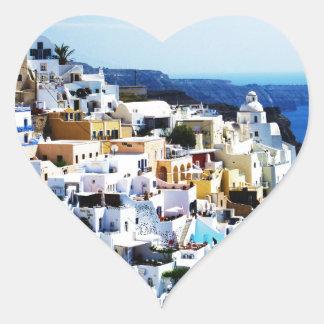 Santorini Insel in Griechenland-FOTO Herz-Aufkleber