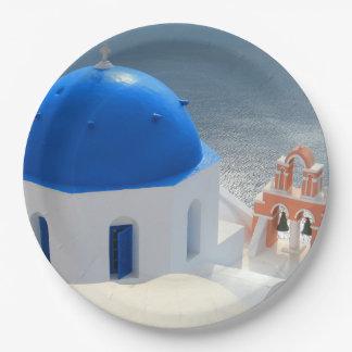 Santorini Kirche am Nachmittag Sun Pappteller