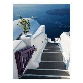 Santorini Oia Schritte, Griechenland Postkarte