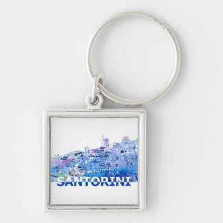 Santorini Skyline in sauberem Scissor Schnitt-Art Schlüsselanhänger