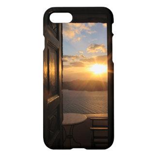 Santorini Sonnenuntergang durch Tür iPhone 8/7 Hülle
