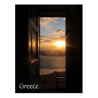 Santorini Sonnenuntergang durch Tür Postkarte