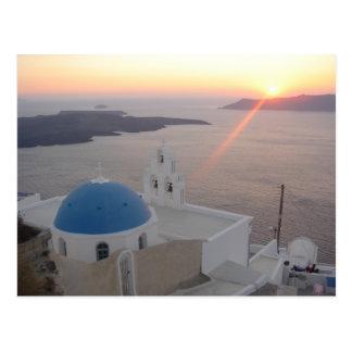 Santorini Sonnenuntergang Postkarte