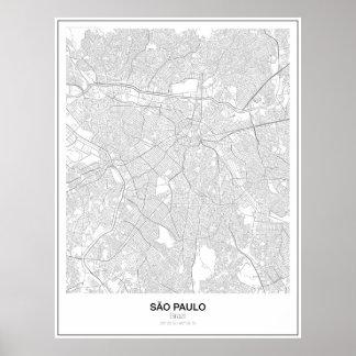 São Paulo, Brasilien, unbedeutendes Karten-Plakat Poster