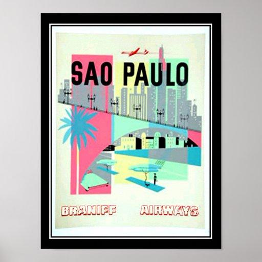 Sao-Paulo Brasilien Vintages Plakat Reise