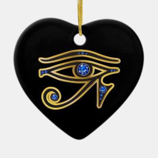 Saphir-Auge von Ra im Gold Keramik Herz-Ornament