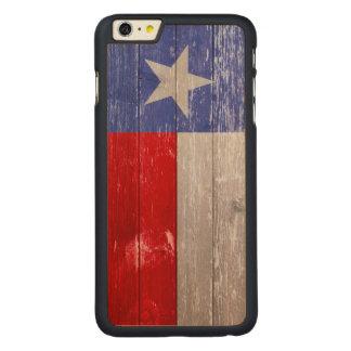 Saphir-blaue und rote gemaltes altes Holz Texas Carved® Maple iPhone 6 Plus Hülle
