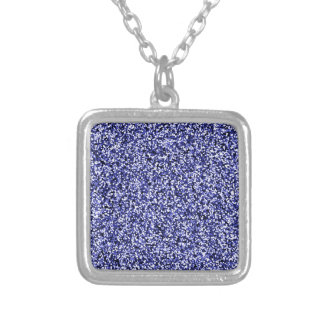 Saphir-blauer Imitat-Glitter Versilberte Kette