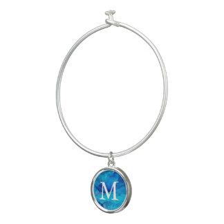 Saphir-blaues Aquarell-Monogramm Armreif