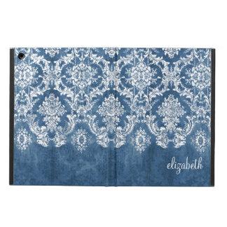 Saphir-blaues Vintages Damast-Muster und Name