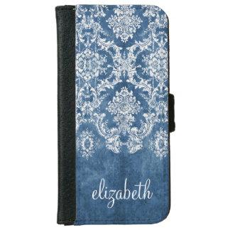 Saphir-blaues Vintages Damast-Muster und Name Geldbeutel Hülle Für Das iPhone 6/6s