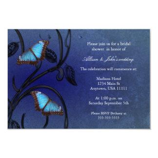 Saphir-Schmetterlings-Paar-Brautparty-Einladung Karte
