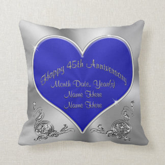 Saphir-silbriges 45. Hochzeitstag-Kissen Kissen