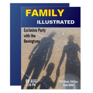 Saphir-Titelseiten-Familien-Party-Strand-Hochzeit 11,4 X 15,9 Cm Einladungskarte